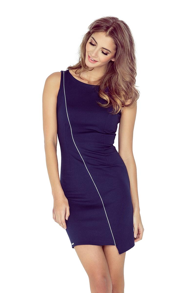 Tmavě modré asymetrické šaty s lemem model 4977517
