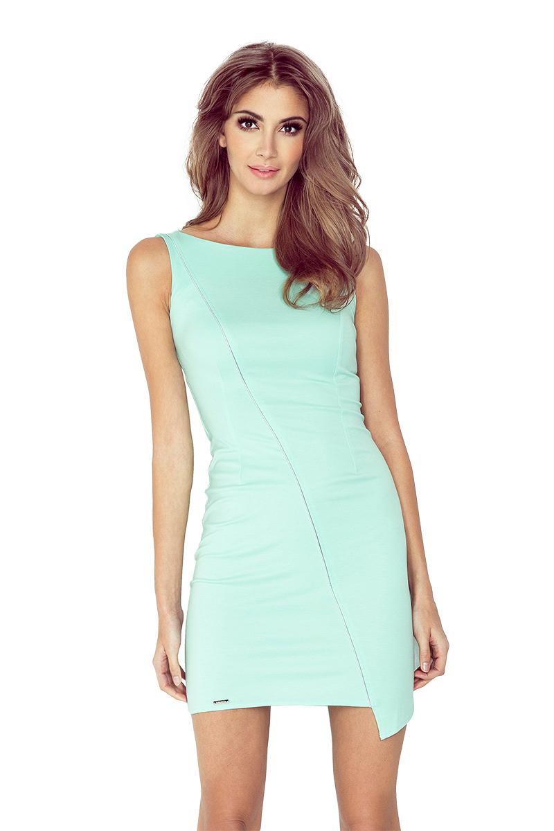 Mátově zelené asymetrické šaty s lemem model 4977538