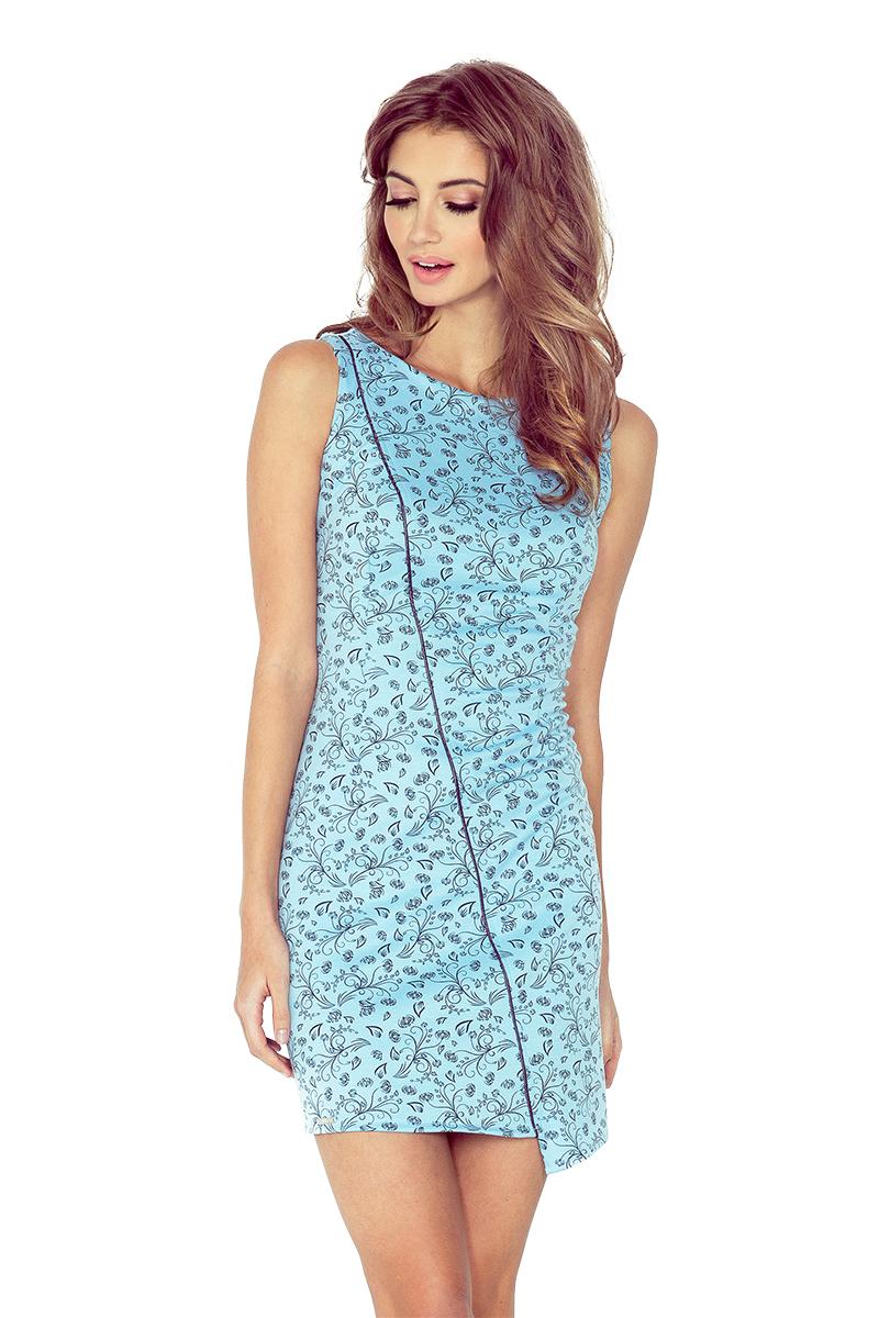 Modré asymetrické šaty s květy model 4977545