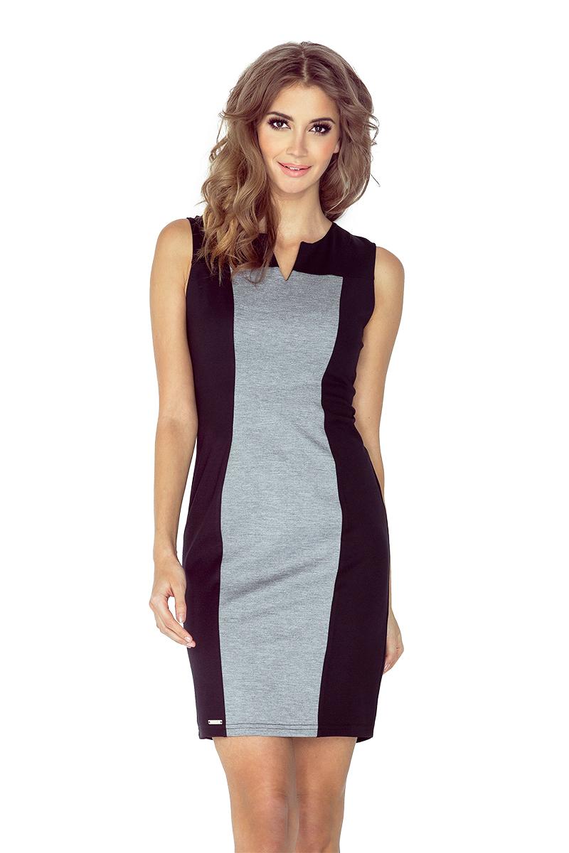 Dvojbarevné šedo-černé šaty model 4977697