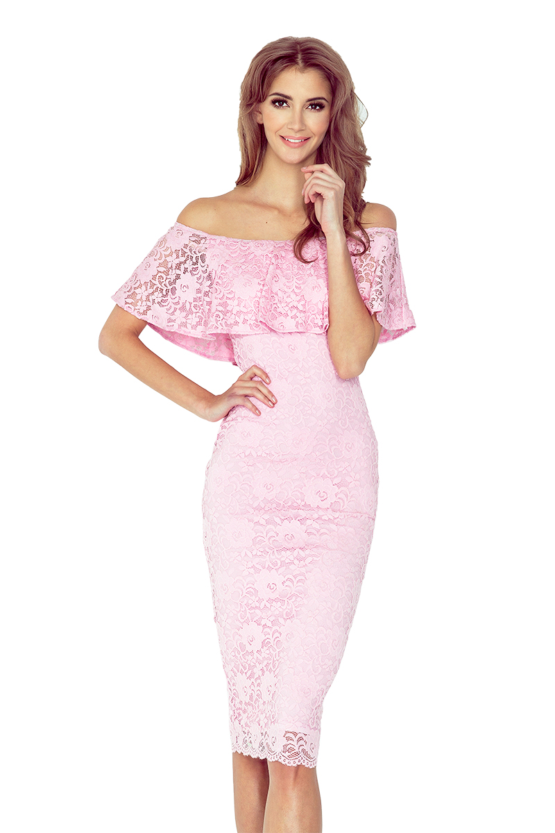 Pastelově růžové šaty s volánkem model 4977971