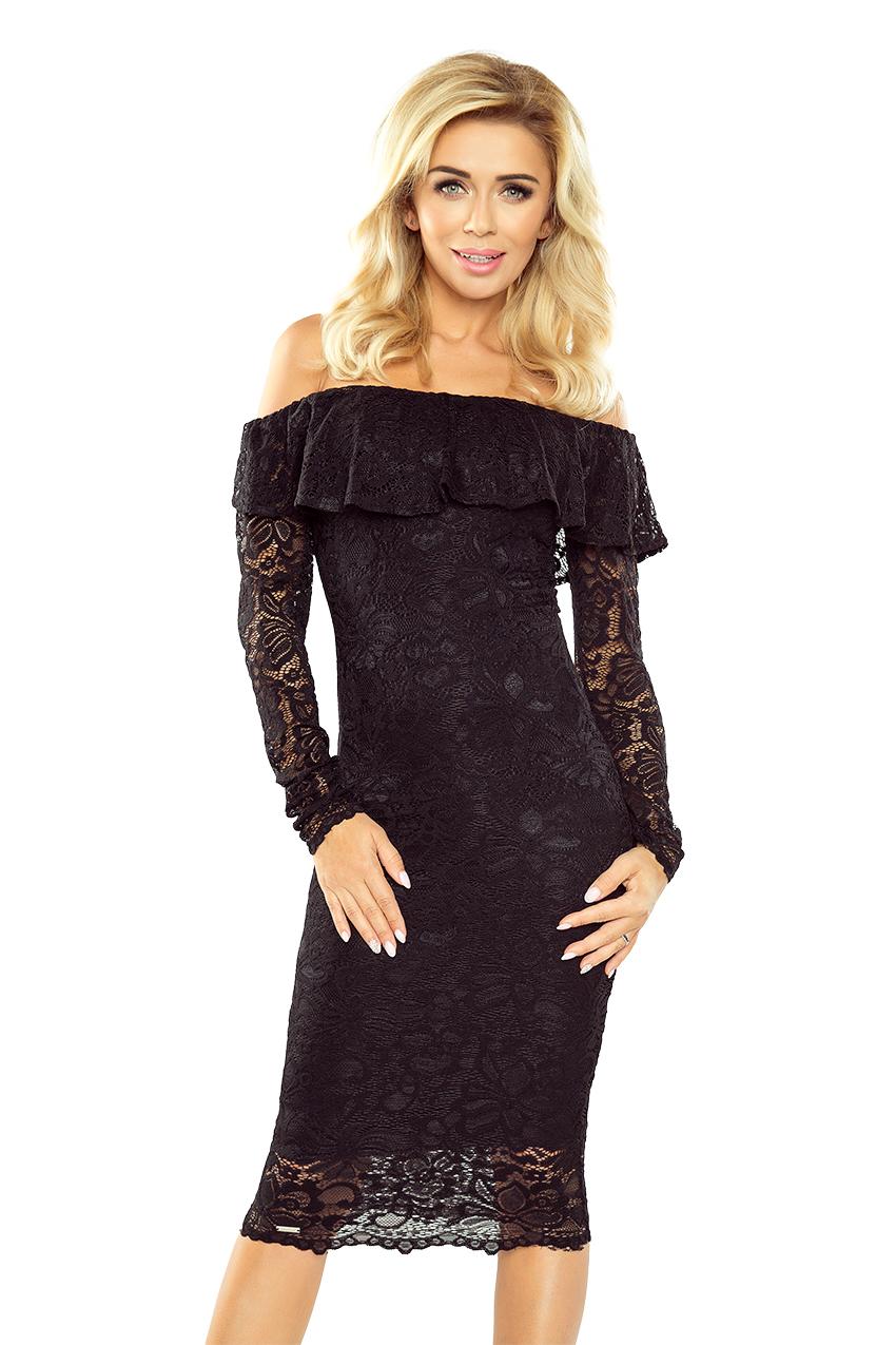 Černé krajkové šaty s dlouhým rukávem model 5352611