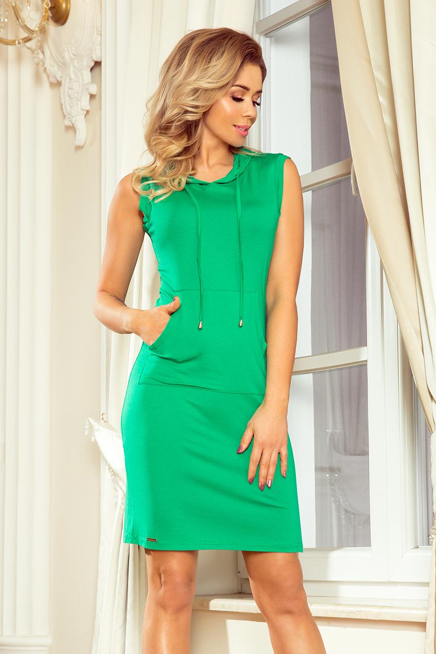 Zelené dámské šaty s klokaní kapsou a kapucí model 7206295