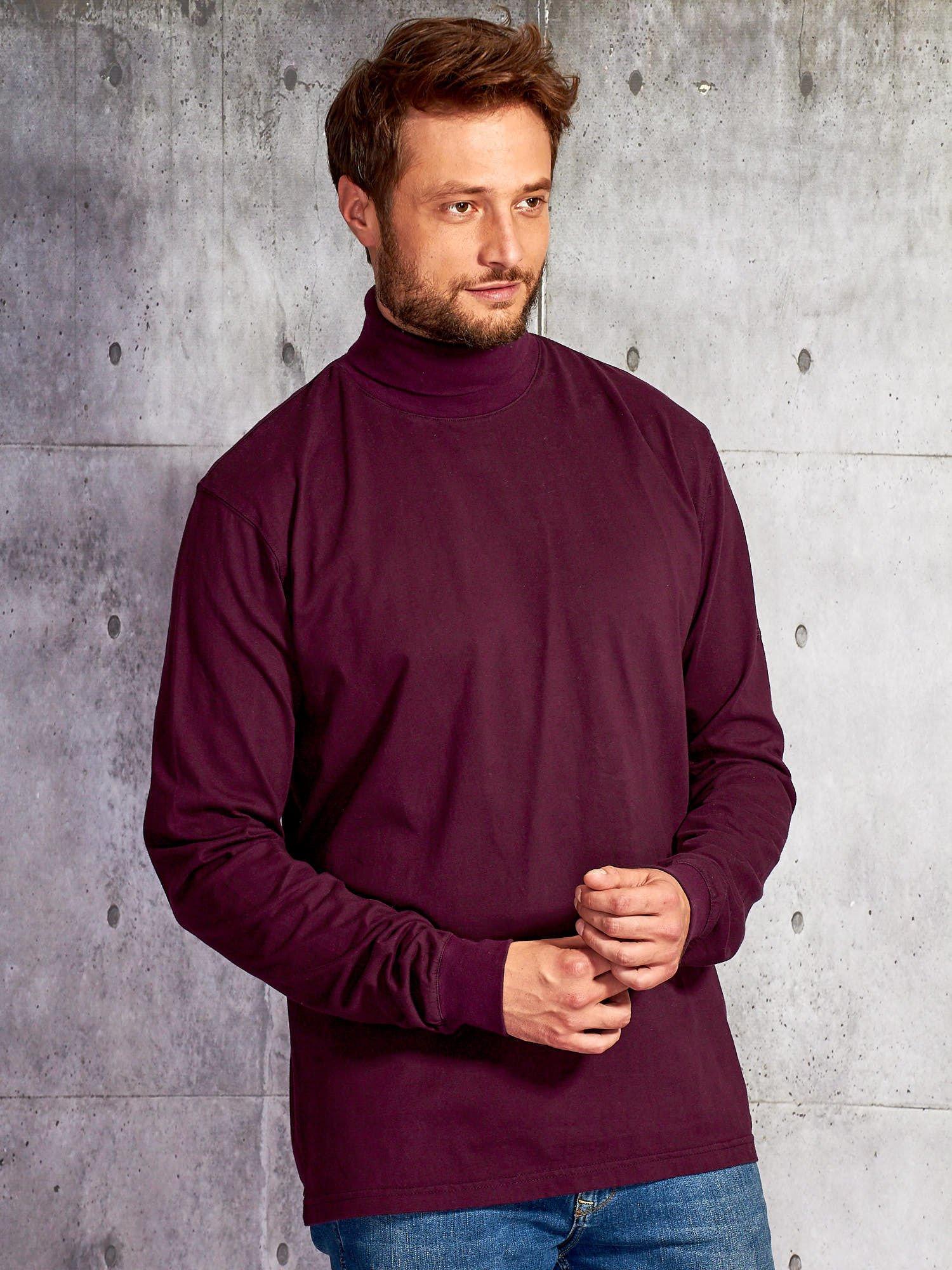 Fialové pánské tričko s rolákem