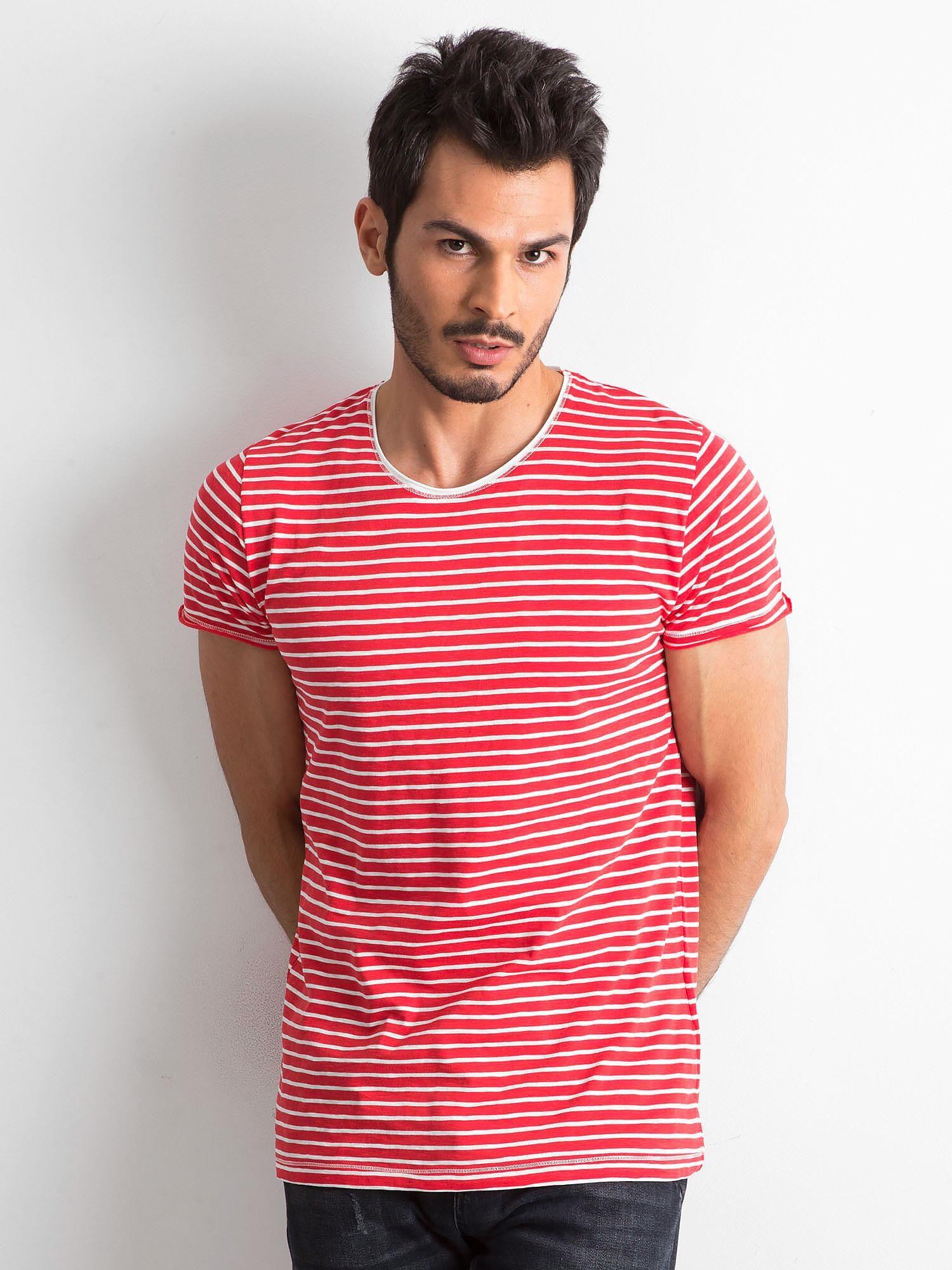 Pánské červené tričko s pruhy ecru