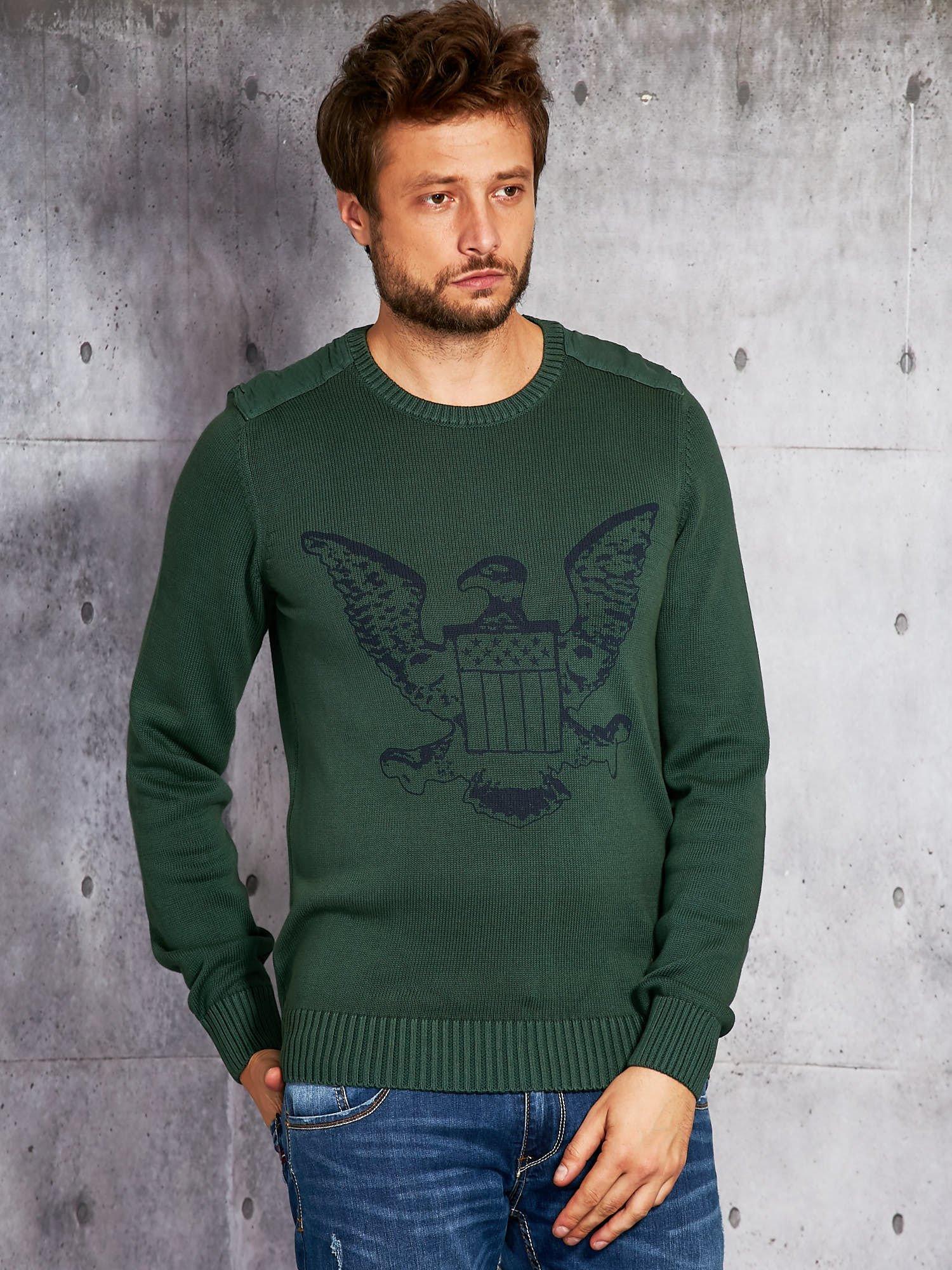 Pánský svetr s tmavě zeleným znakem