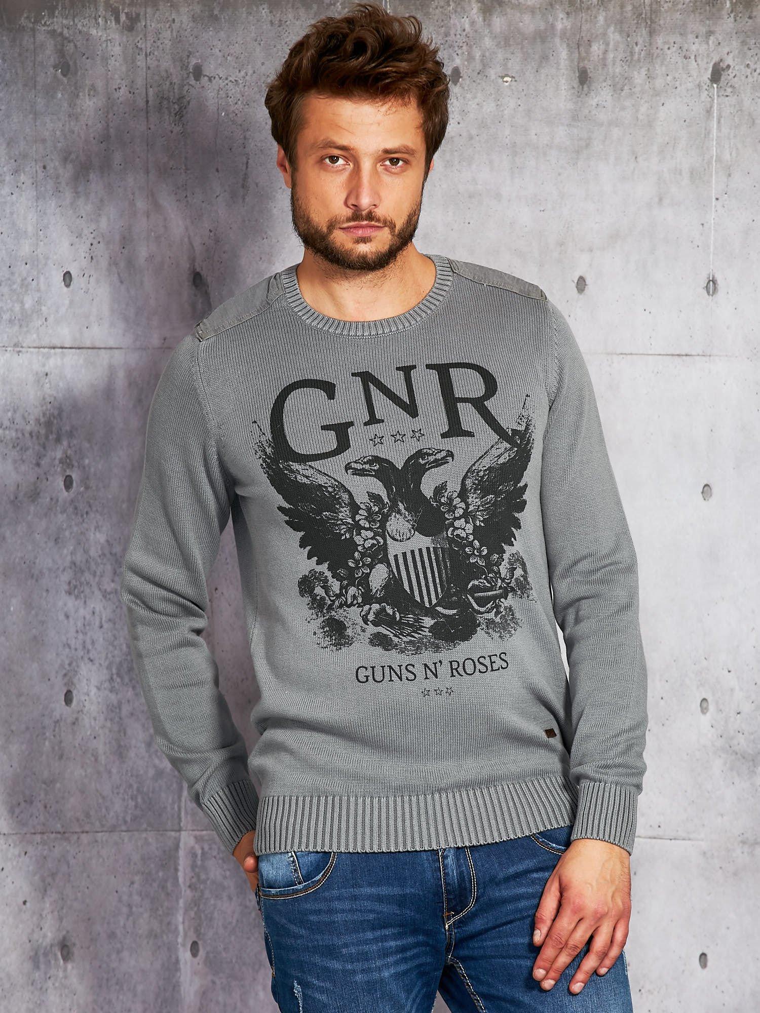 Pánský svetr se šedým potiskem