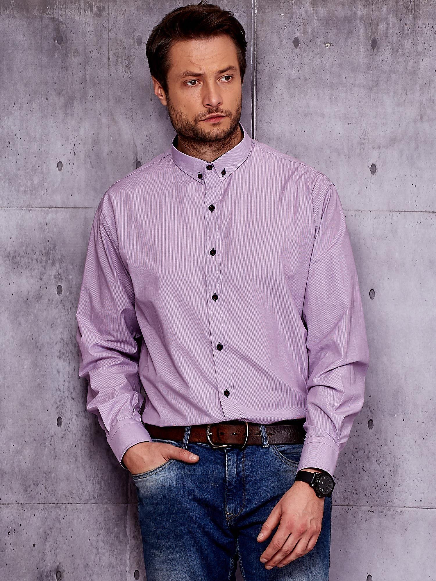 Pánské fialové tričko s malými pruhy VELIKOST