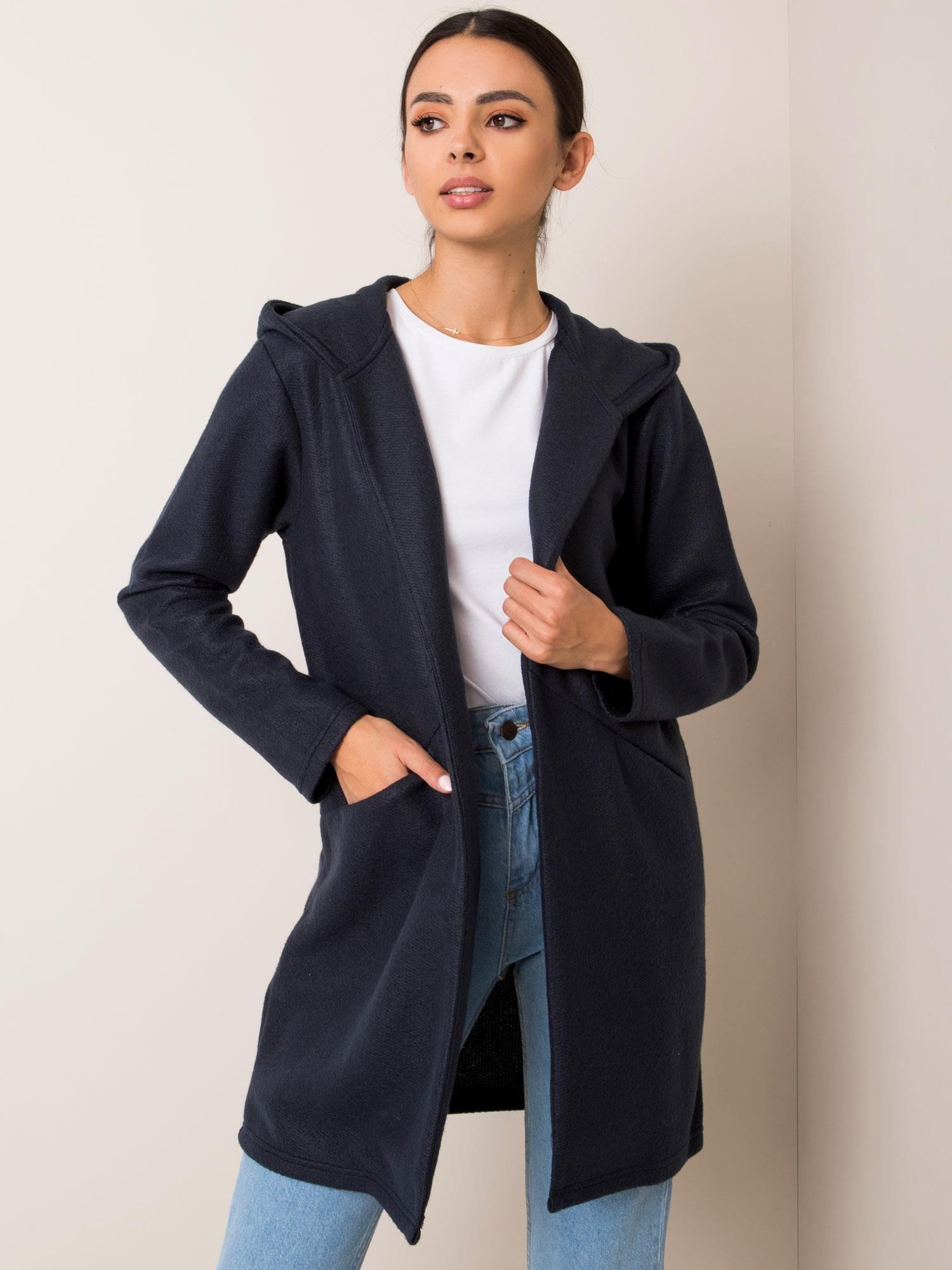SUBLEVEL Tmavě modrý kabát s kapucí