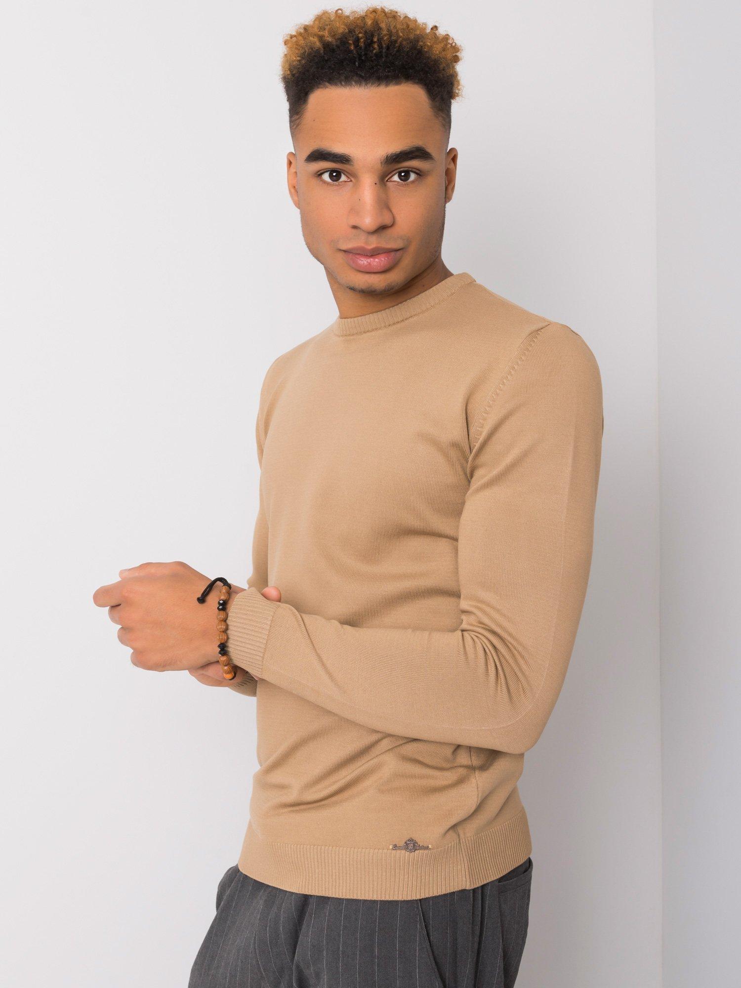 Tmavě béžový svetr pro muže LIWALI