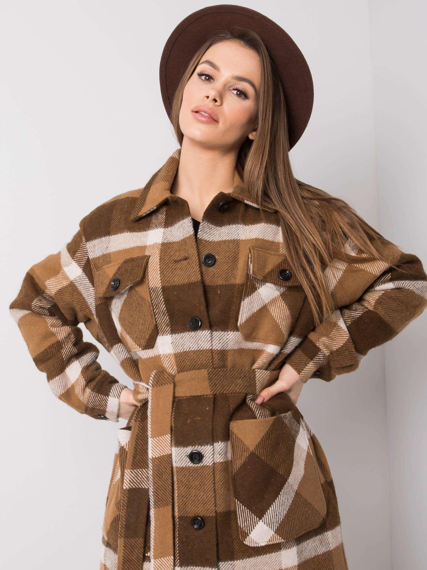 Dámský hnědý kostkovaný kabát
