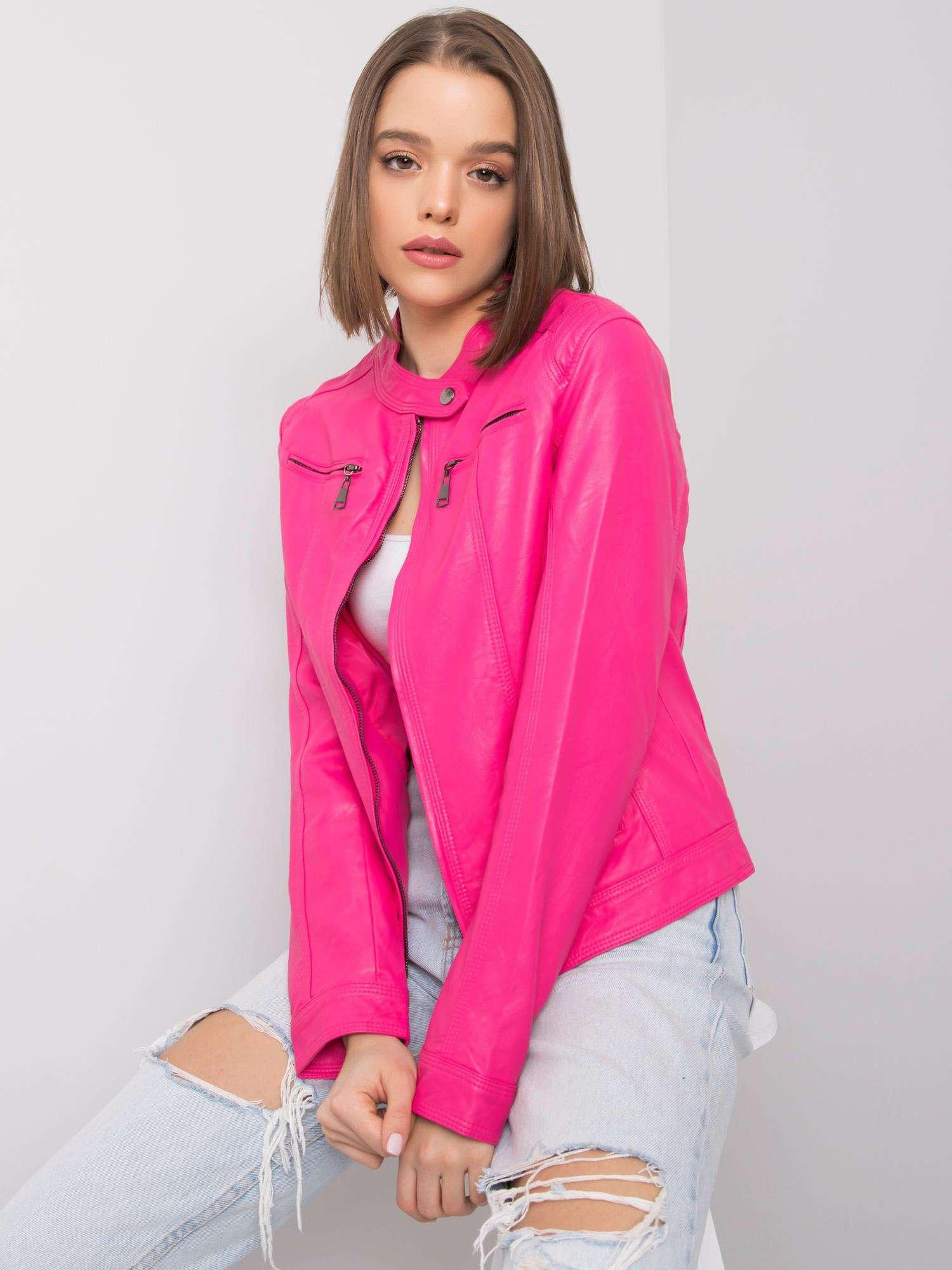 Růžová bunda z umělé kůže