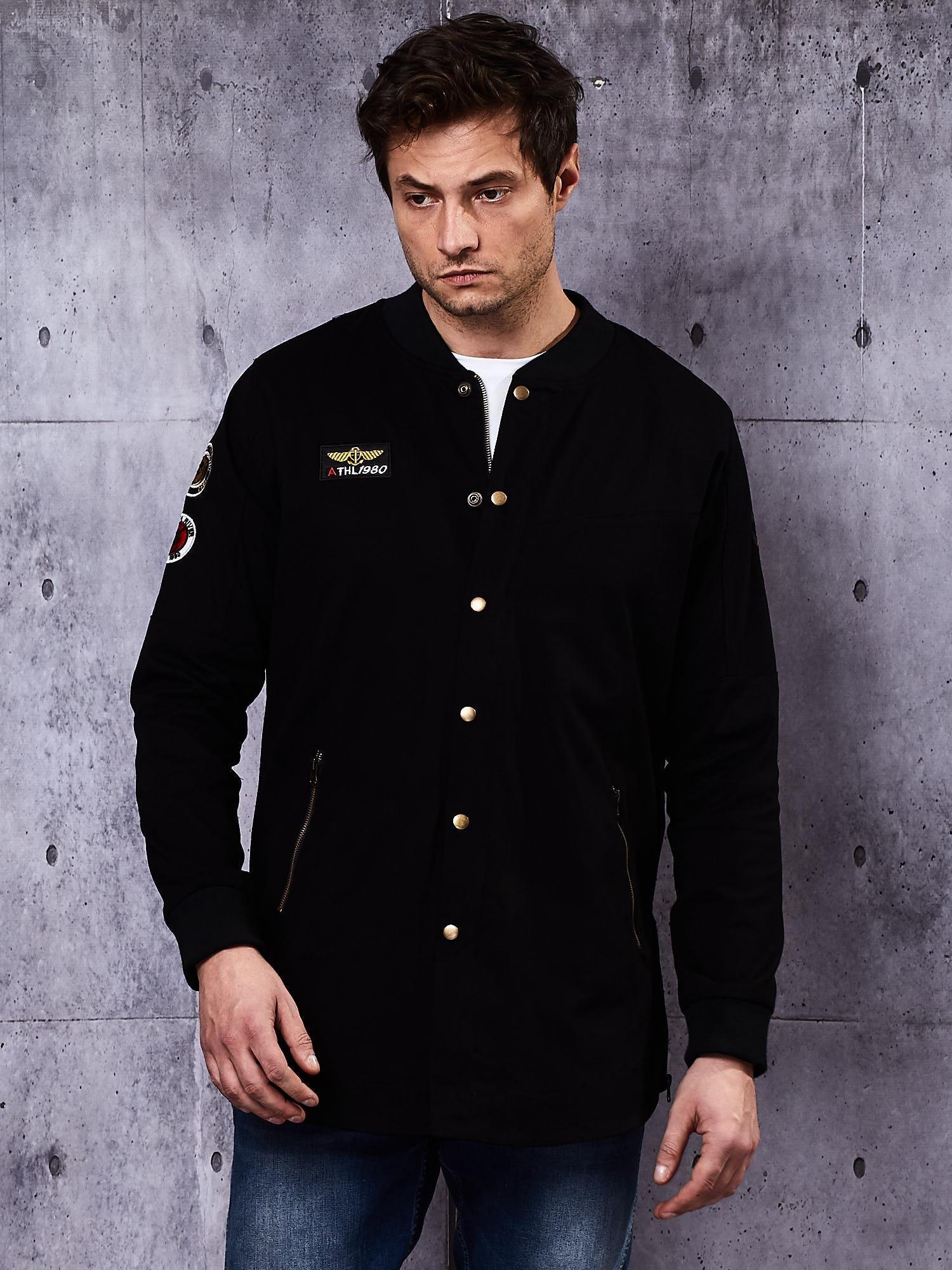 Černá pánská bunda s nášivkami