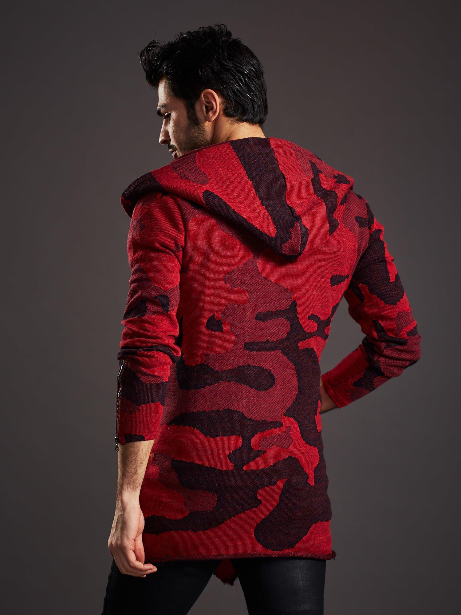 Pánský červený svetr s asymetrickými knoflíky