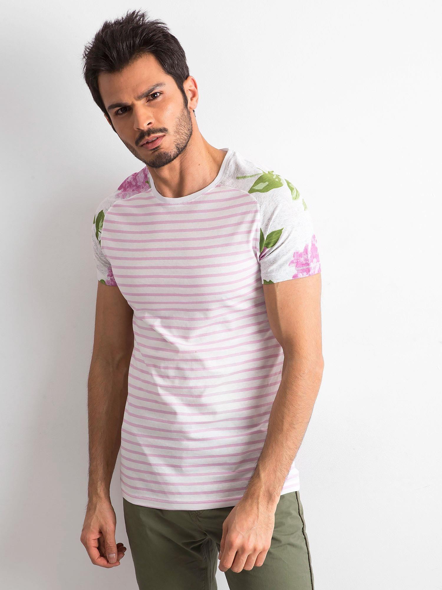Pánské tričko s pruhy a květinami v bílé a růžové barvě