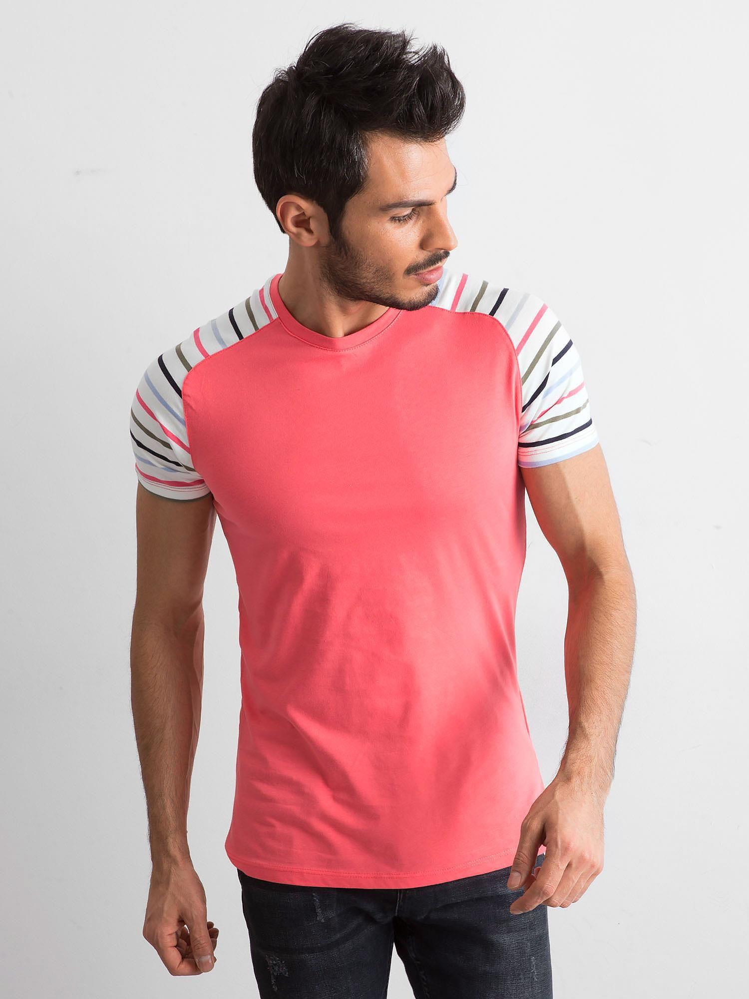 Pánské tričko s pruhy na rukávech, korálové