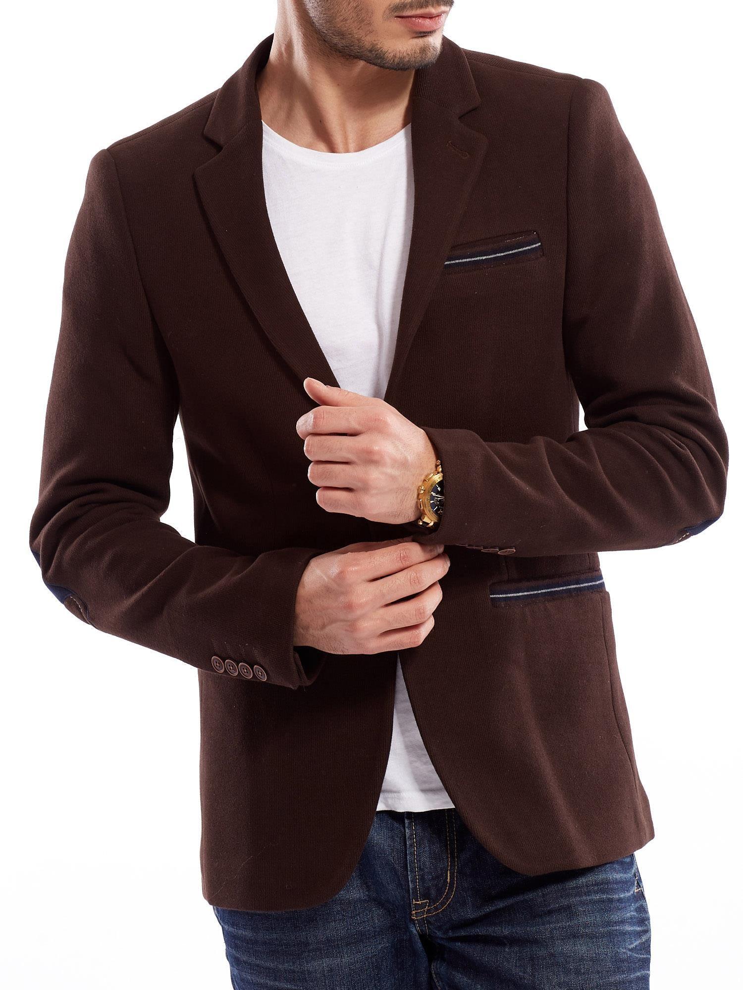 Pánská tmavě hnědá jednobarevná bunda s úzkým střihem