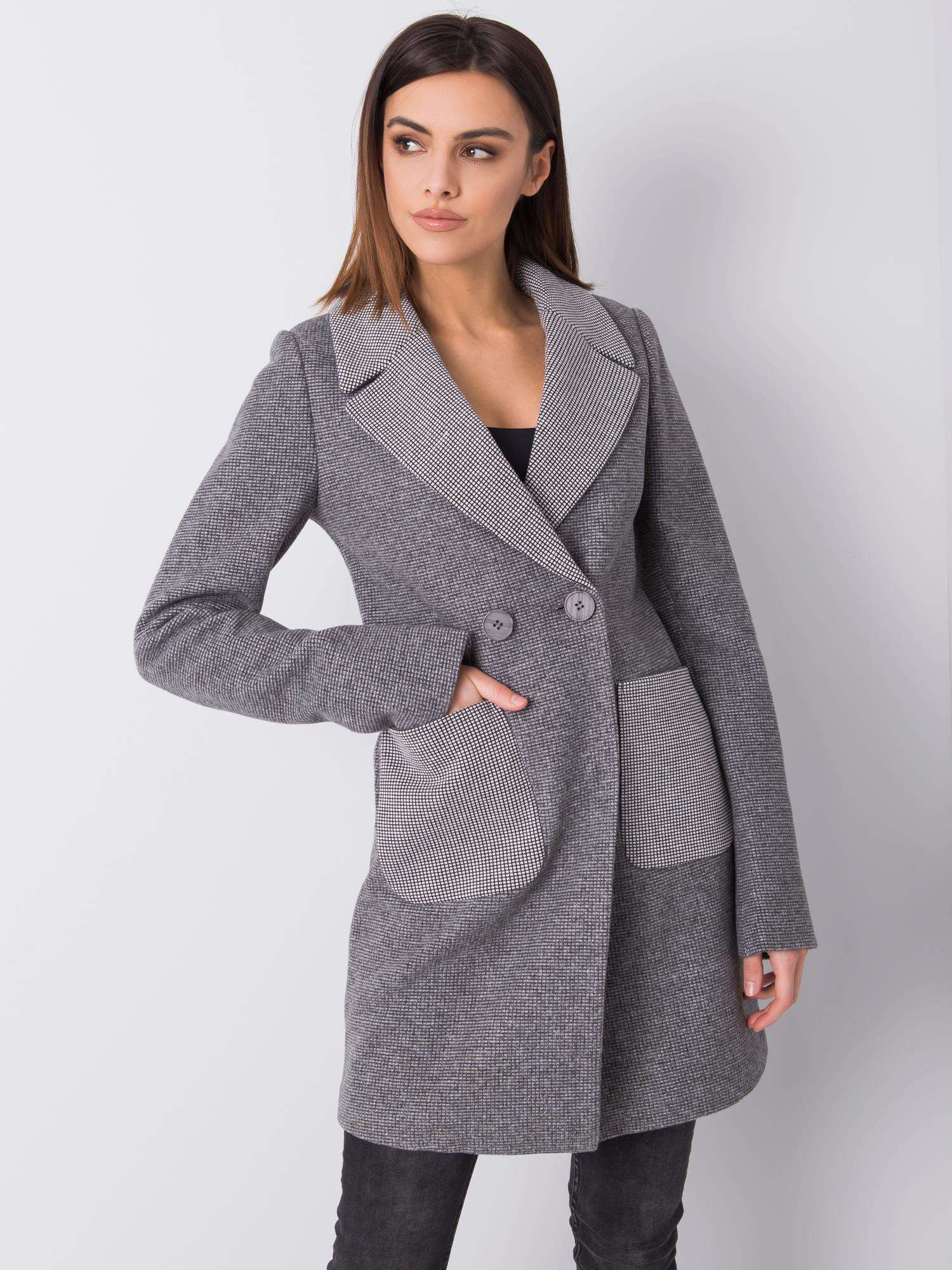 Dámský šedý kostkovaný kabát