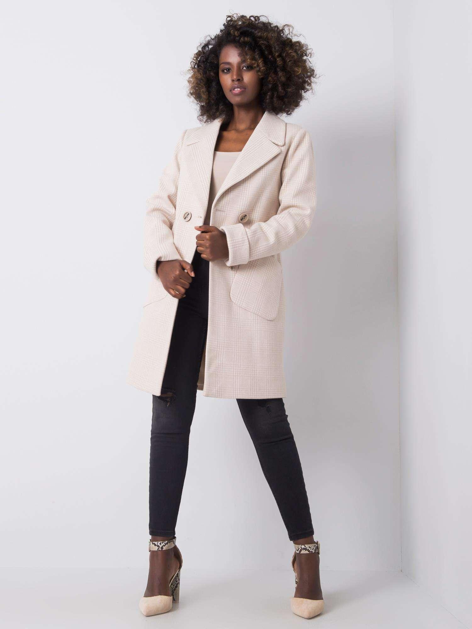 Dámský károvaný béžový kabát