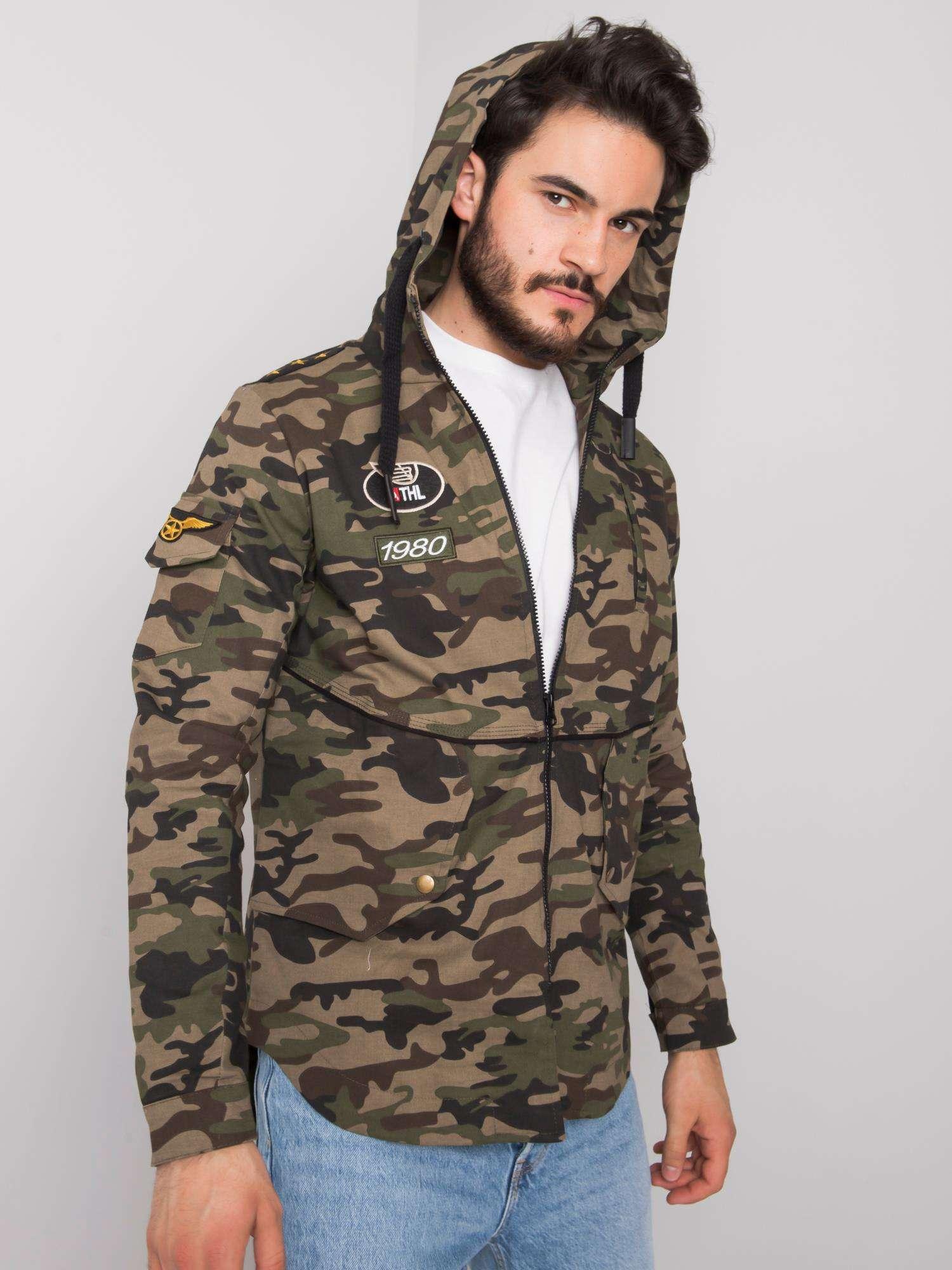 Khaki přechodná pánská bunda s kapucí