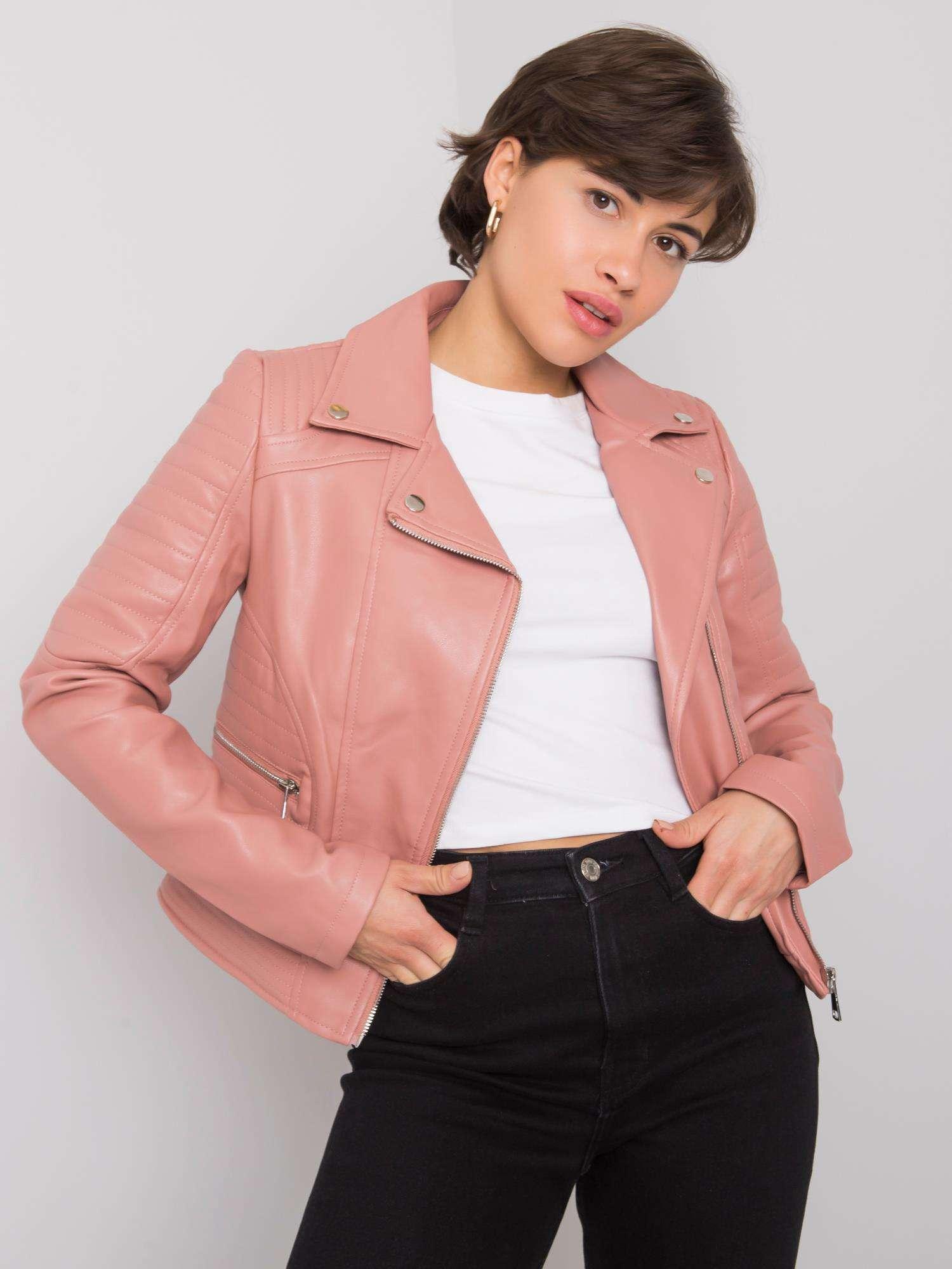 Pudrově růžová koženková bunda