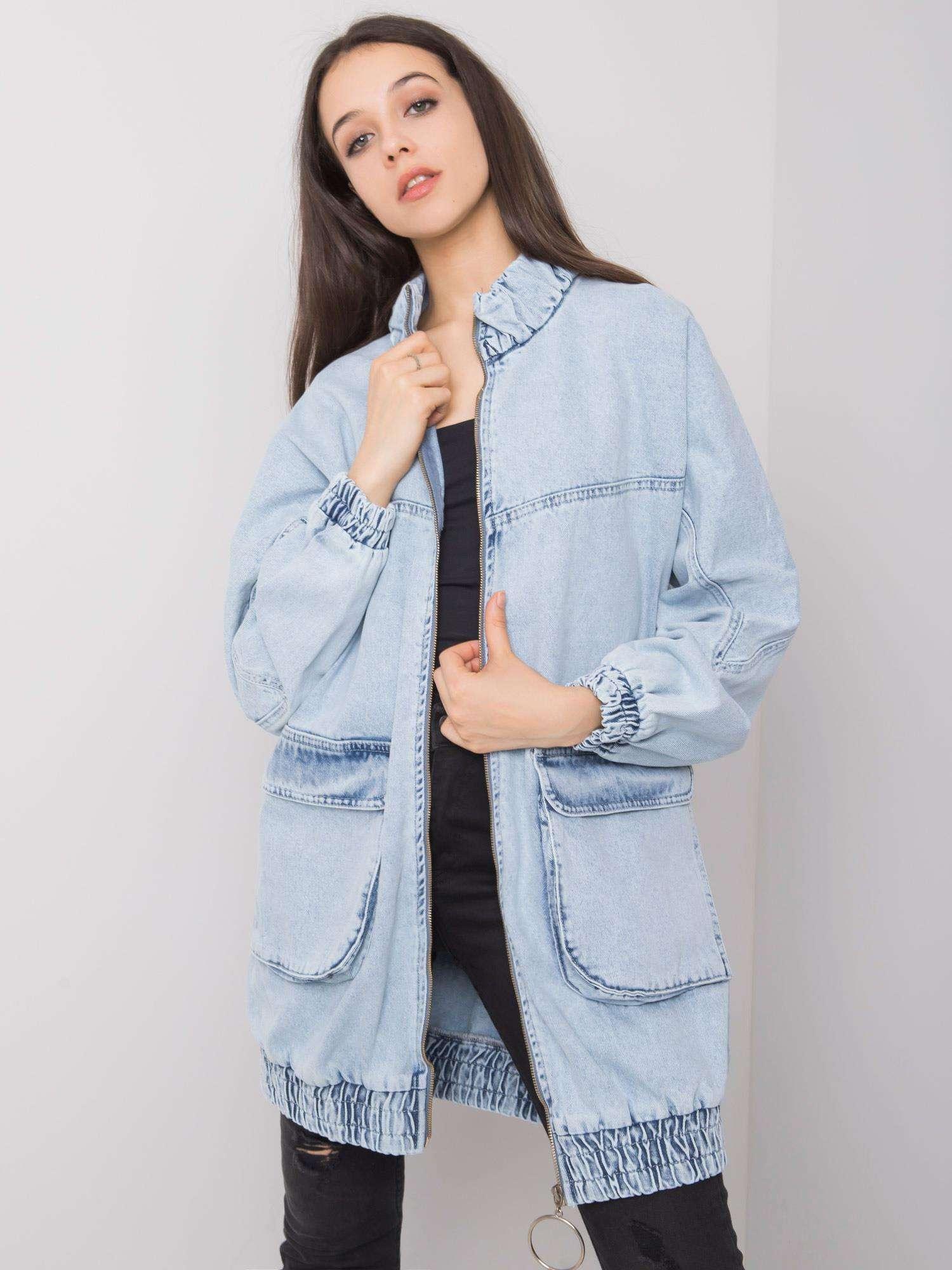 RUE PARIS Modrá dlouhá džínová bunda