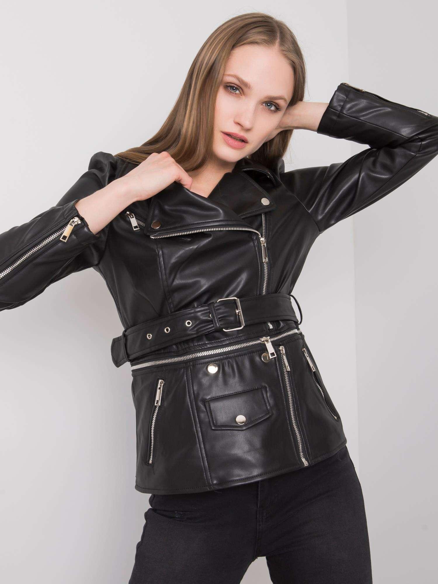 Černá bunda z umělé kůže