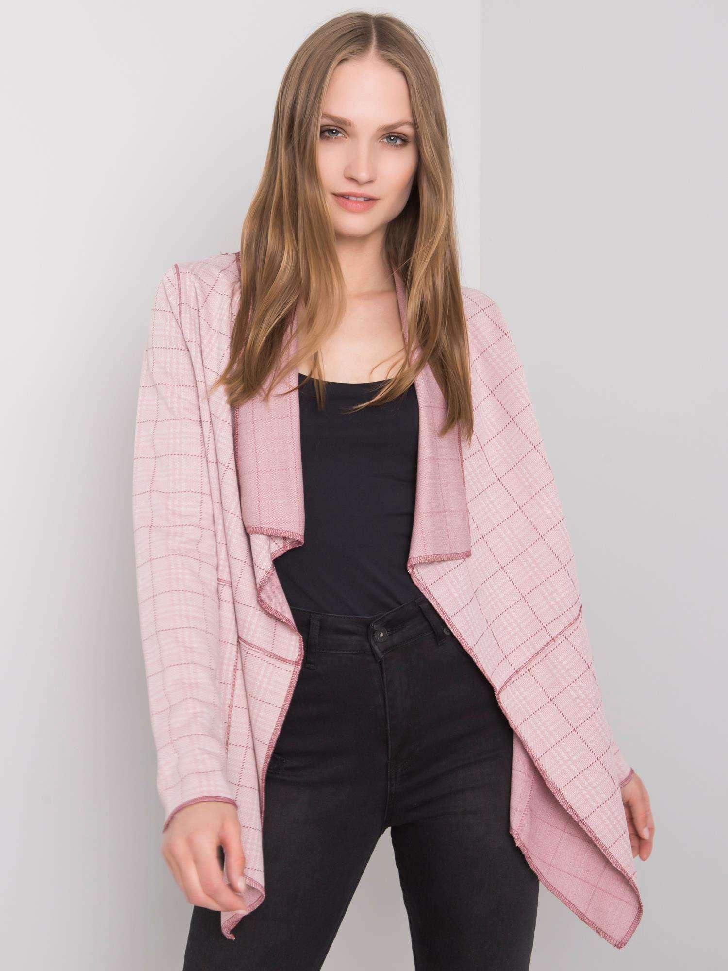 SUBLEVEL Světle růžový dámský károvaný plášť
