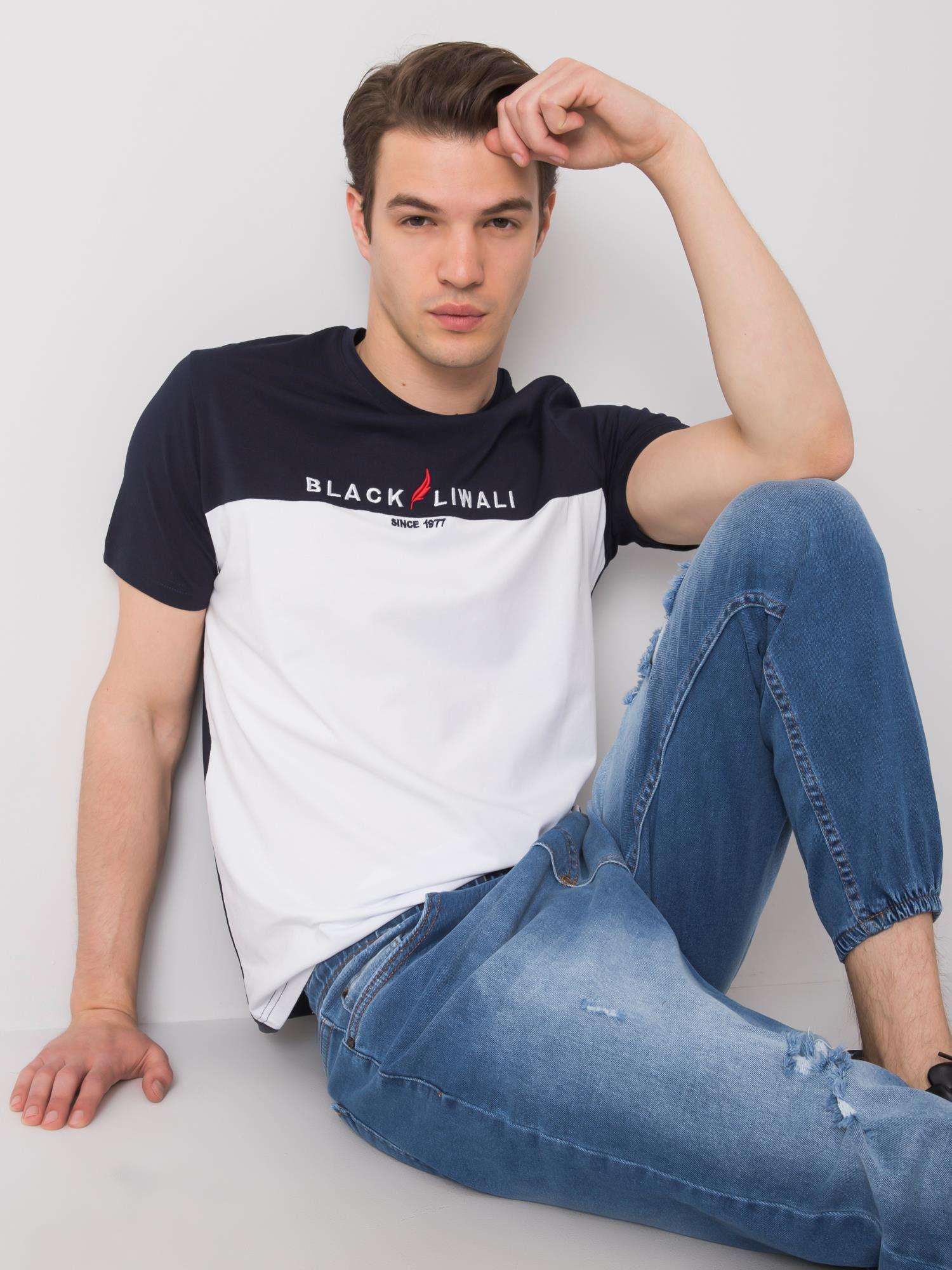 Pánské tričko LIWALI z námořnické a bílé bavlny