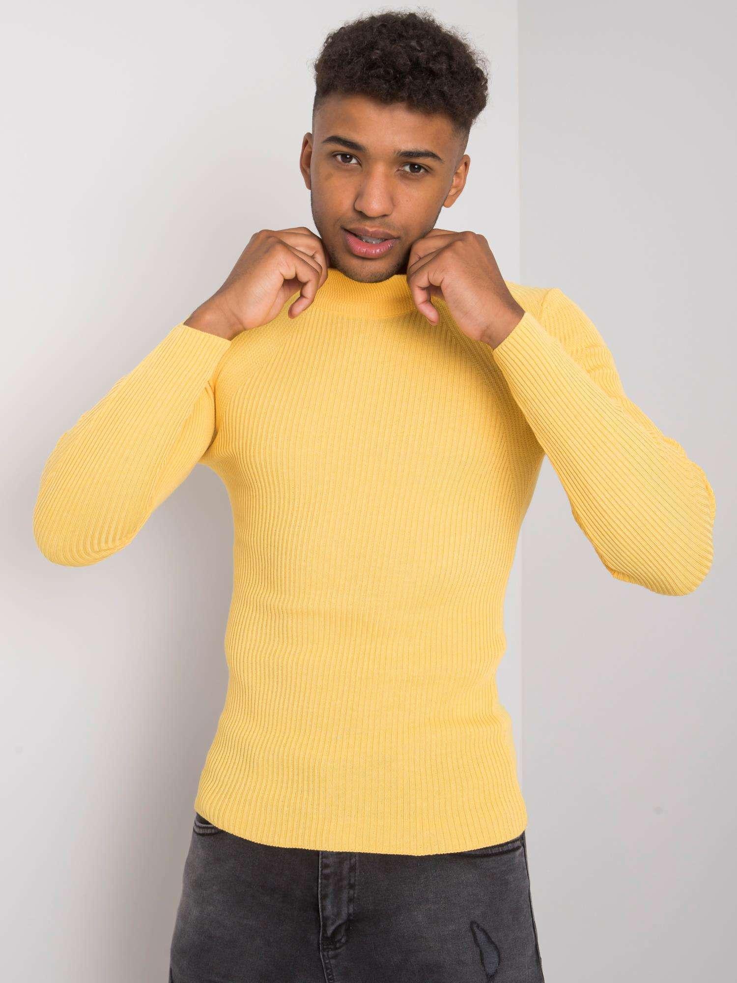 Pánský žlutý rolákový svetr