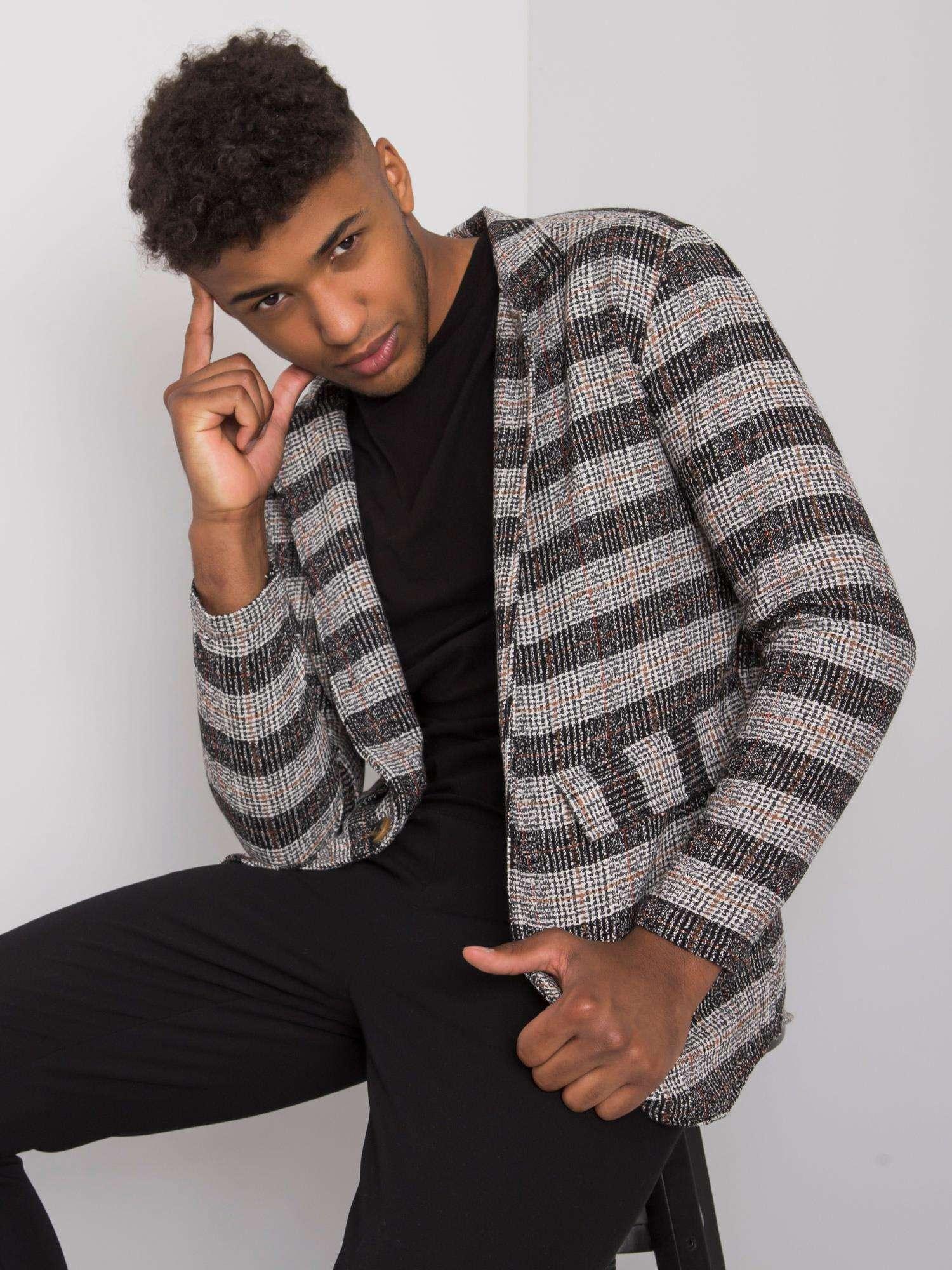 Černý a šedý pánský károvaný sako