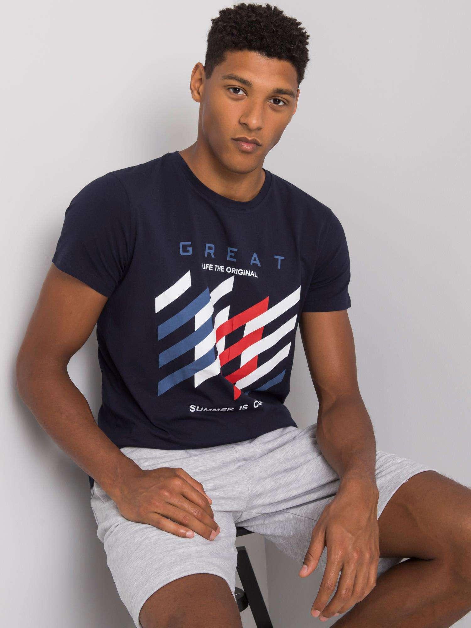 Námořnicky modré pánské tričko s barevným potiskem