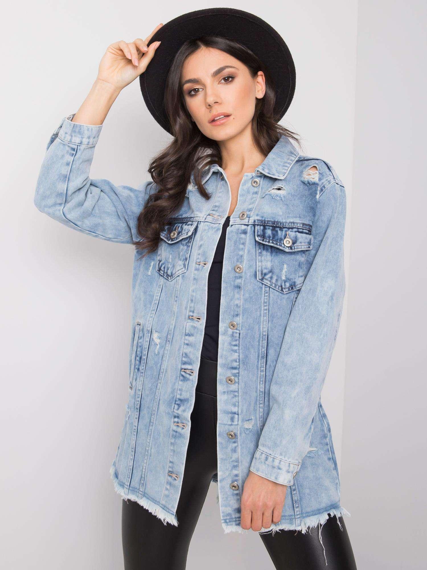 Modrá zoufalá džínová bunda