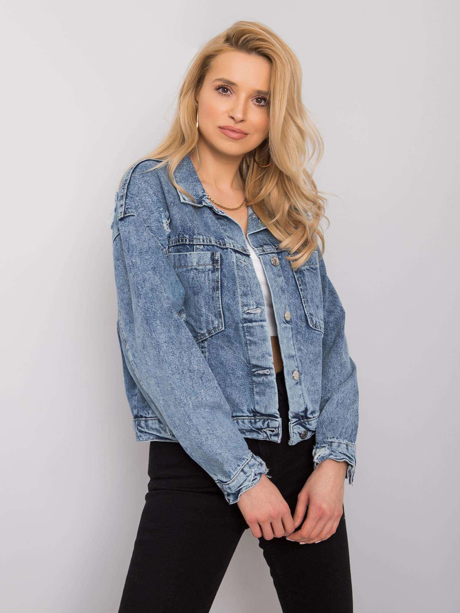 Dámská modrá roztrhaná džínová bunda