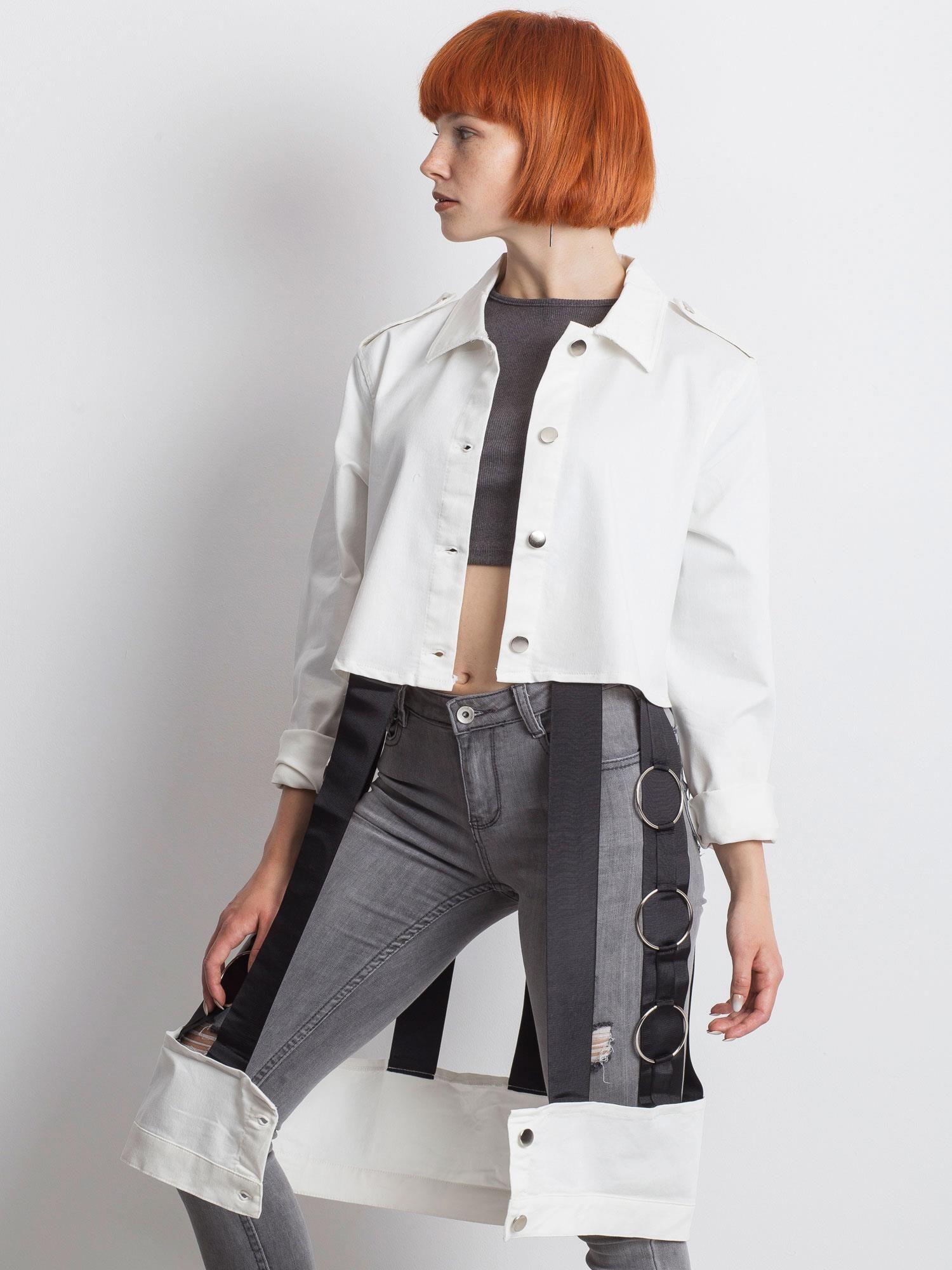 Ecru-černá džínová bunda