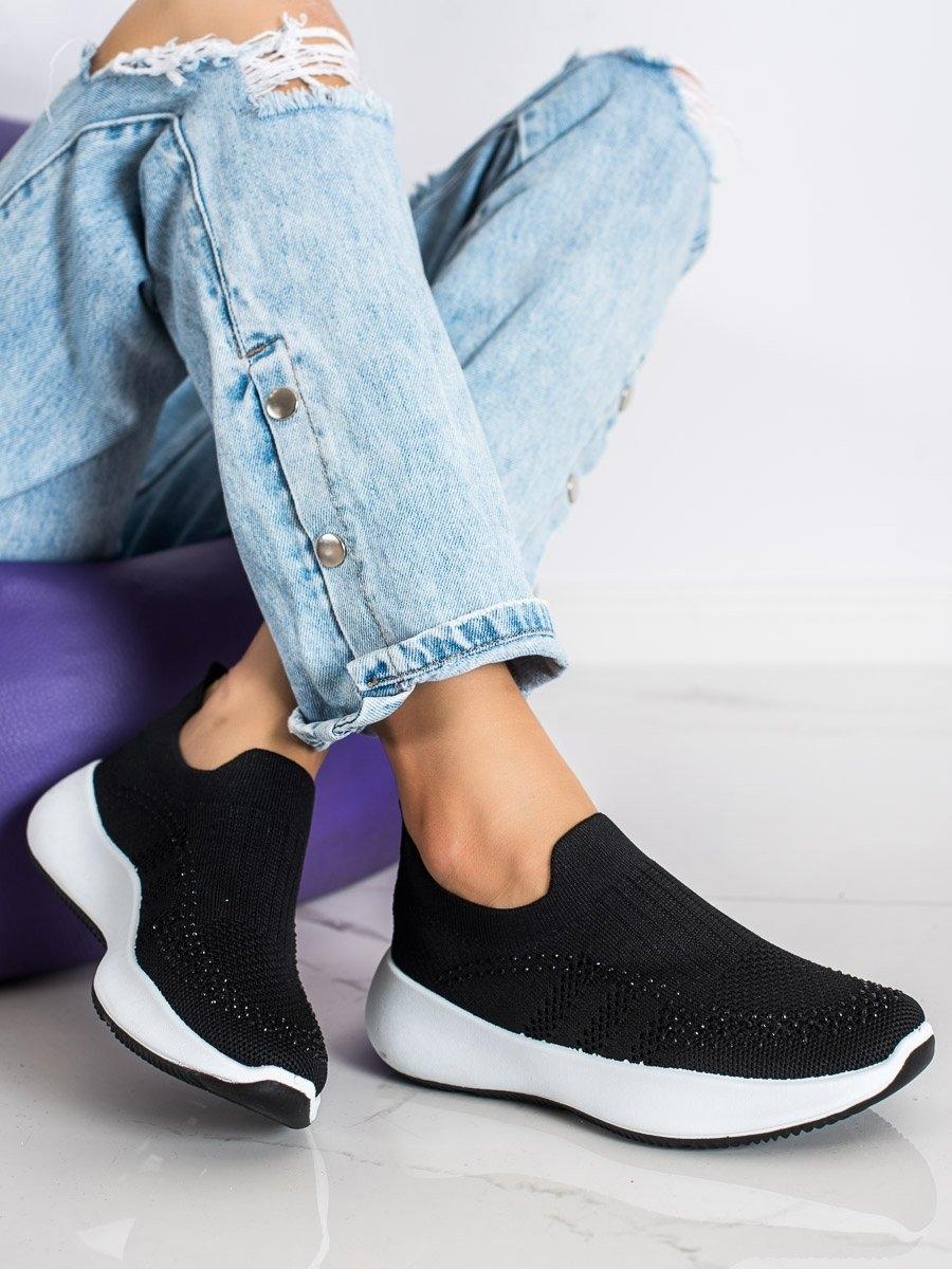 Trendy  tenisky dámské černé bez podpatku