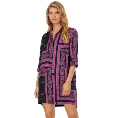 Dámská noční košile YI2322407-002 fialovočerná - DKNY