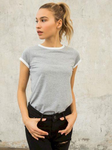 Šedé bavlněné dámské tričko FOR FITNESS