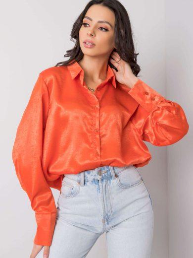 RUE PARIS Tmavě oranžová dlouhá košile