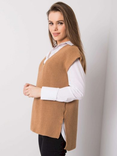Hnědá pletená vesta RUE PARIS