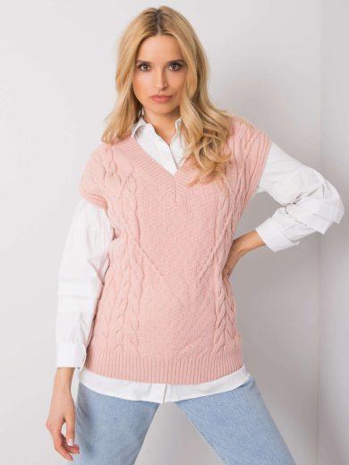 Pudrově růžová pletená vesta s copánky