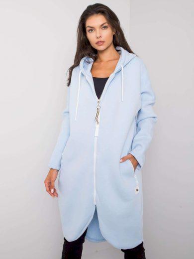 Světle modrá dlouhá mikina s kapucí