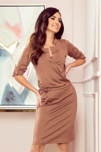 AGATA - Světle hnědé dámské šaty s límečkem 161-15