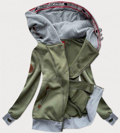Dlouhá dámská mikina v khaki barvě s asymetrickým zipem (560)