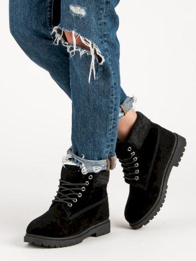Moderní dámské  kotníčkové boty černé na plochém podpatku