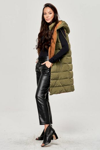 Dlouhá dámská péřová vesta v khaki barvě (JIN212)