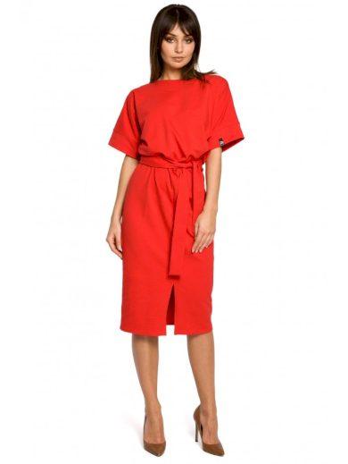 B062 Pletené midi šaty s předním dílem