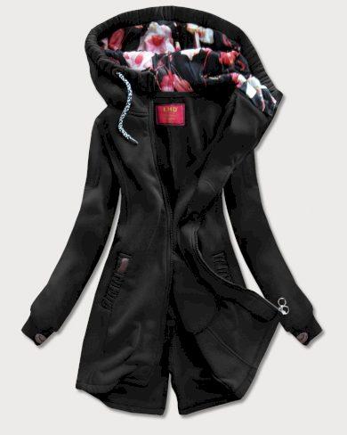Dlouhá černá dámská mikina s kapucí (693)