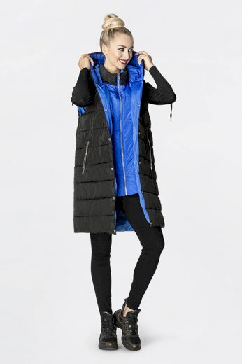 Dlouhá černá dámská péřová vesta (JIN212)