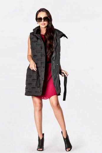 Dlouhá černá dámská vesta s páskem (JIN217)